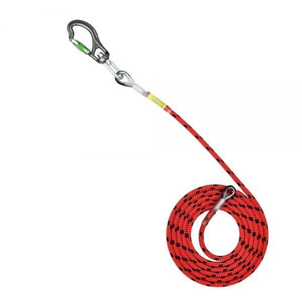 Sprzęt arborystyczny - lonże stabilizacyjne - Tree Runner lonża z potrójnym zabezpieczeniem z hakiem aluminiowym 12,5 mm - Kolor czerwono-czarny - EN 358