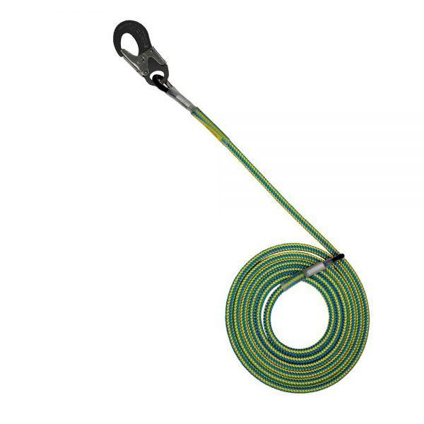 Sprzęt arborystyczny - lonże stabilizacyjne - Tree Runner lonża z podwójnym zabezpieczeniem i hakiem aluminiowym - Super Flex 12,5 mm - Kolor żółto-niebieski - EN 358