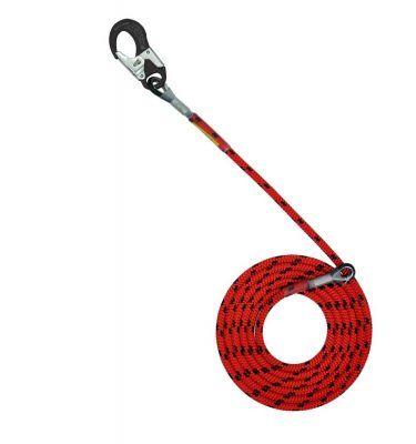 Sprzęt arborystyczny - lonże stabilizacyjne - Tree Runner lonża z podwójnym zabezpieczeniem i hakiem aluminiowym - Super Flex 12,5 mm - Kolor czerwono-czarny - EN 358