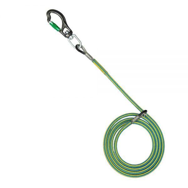 Sprzęt arborystyczny - lonże stabilizacyjne - Tree Runner lonża z potrójnym zabezpieczeniem z hakiem aluminiowym - Super Flex 12,5 mm - Kolor żółto-niebieski - EN 358