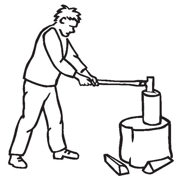 Używaj szerokiego, stabilnego pniaka o wysokości sięgającej kolan.