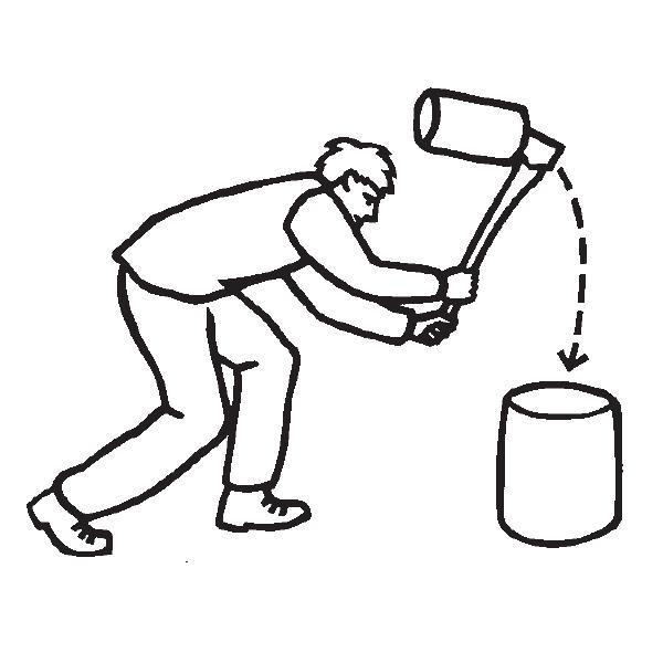 Można zastosować technikę odwrócenia trzonka i uderzanie w pniak